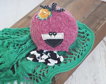 newborn flamingo hat // baby hat // sitter prop //  photo porp // newborn photography // shabby chic // bird // summer prop // pink