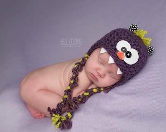 baby monster hat // newborn monster // newborn photo prop // monster hat // silly baby hat // multiple sizes // halloween hat // costume