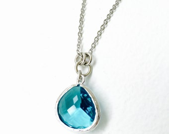 Turquoise Blue - Tear Drop - Crystal Glass Silver Long Necklace