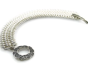 Sterling Silver Chain Link Bracelet with Filigree Toggle Clasp