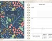 2016 planner calendar choose start month | custom weekly student planner | personalized planner agenda | navy watercolor floral pattern
