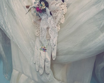 Vintage Organza Gown & Gloves Fine Art Print - Nostalgic, Home Decor, Girls Room, Victorian, Photography, Gift, Beauty, Antique, Lace