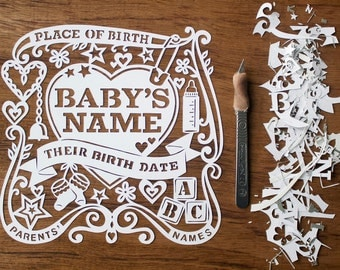 Handcut! Welcoming a New Baby? Beautiful Personalised Papercut. Made to Order.