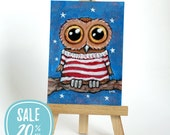 ON SALE | Original ACEO Whimsical Owl Starry Night Striped Shirt by Lisa Marie Robinson