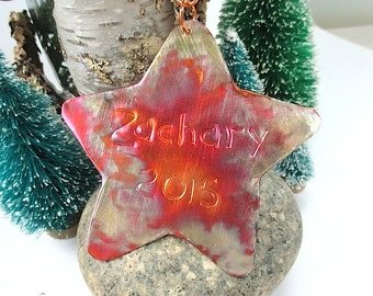 Large Personalized Star, Copper Christmas Ornament, Advent Decoration, Holiday Decor, Rustic Primitive, Hammered Metal, Keepsake Ornament