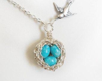 Jewelry, necklaces, charm necklace, personalized jewelry, bird nest necklace, new mom gift, initial jewelry, mom jewelry, three bird nest