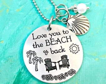 Beach Necklace, Love you to the Beach & Back, Beach Wedding, Beach Jewelry, Gift for Her, Anniversary Gift, Beach Lover Gift, Honeymoon