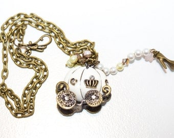 Cinderella's Ride Vintage Style Necklace with Swarovski Crystal and Pearl, Lucite, and Antique Bronze Accents
