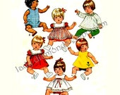 542 Simplicity 5947 Baby Doll Clothes 12-13 Inch Dolls Dress Sundress Pinafore Romper Panties Pants Tops Vintage 1973 Sewing Pattern