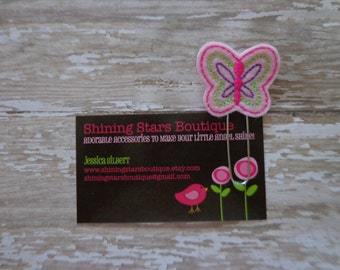 Felt Planner Clips - Light Pink Spring Butterfly With Lime Green, Hot Pink, And Purple Detailed Accents Paper Clip Or Bookmark - Garden Bugs
