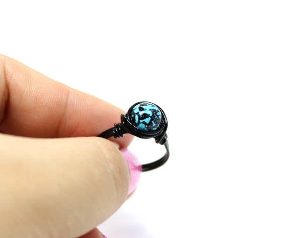 Black and Turquoise Ring, Marble Ring, Blue Ring, Wire Wrapped Ring, Black and Turquoise Jewelry, Black and Blue Ring, Any Size Ring 4 - 14