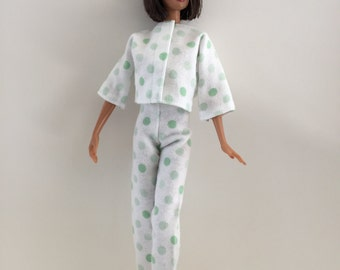 Barbie Handmade Clothes Green Dot Flannel Pajamas (G920)