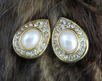 Teardrop Pearl and Rhinestone Earrings Vintage Bridal Wedding