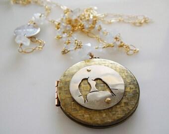 Love Birds Vintage Basket Weave Locket in Brass, Gold and Moonstones 30 in.