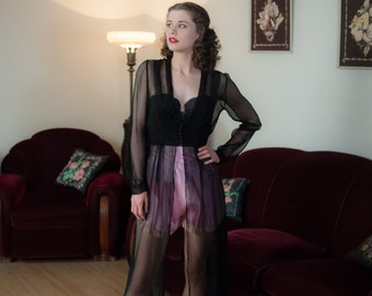 Vintage 1940s Peignoir - Bewitching Sheer Black Rayon Net 40s Robe with Deep Plunging Neckline and Lace Trim