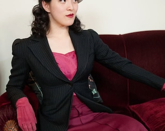 1940s Vintage Suit - Rare Peaked Lapel Pinstriped Wool WWII Era Late 30s - Early 40s Blazer Jacket