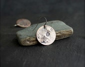 Rustic Round Disk Earrings - No. 2, Reticulated Sterling Silver on Copper, Crater Texture, 19mm, Dangle Earrings, Metalwork Jewelry