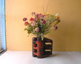 Forged Metal Flower Vase, Table Centerpiece, Coffee Table Vase, Orange Vessel, Industrial Salvage Machinery, Steampunk Gearhead Decor