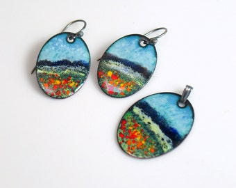 Colorful Jewelry Set, Copper Enameled Pendant & Earrings, Impressionist Meadow Landscape, Set or Each, Ready to Ship, Deluxe Gift