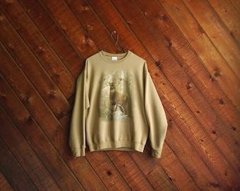 Vtg Beige Nature Buck Deer Print Sweatshirt - 90s - S/M