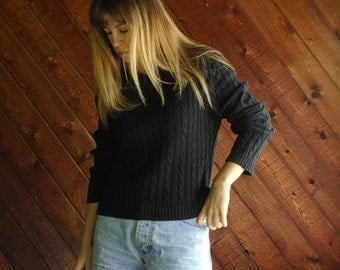 Navy Blue Cable Knit Wideneck Sweater - Vintage 80s - SMALL