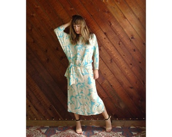 Floral Aqua Silk Dolman Maxi Dress - Vintage 70s 80s - S/M Tall