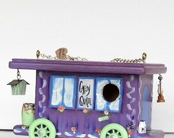 Purple Gypsy Queen Wagon Birdhouse , Handcrafted , Hand Painted