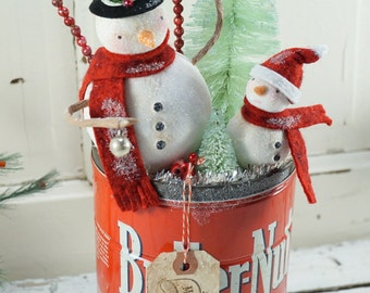 Snowman Christmas Decor // Ornament // Vintage Style Christmas //Vintage Tin // Farmhouse Chistmas // Bottle Brush Tree // Antique Christmas