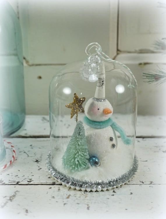 Christmas decoration snowman folk art snow globe for Mica decoration cloche