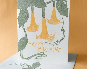 Angel's Trumpet Happy Birthday and Blank Note Card