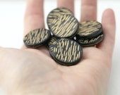 Acrylic Beads Etched Black Gold Acrylic Round 24mm (10)