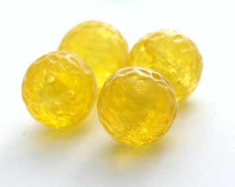 Vintage Bright Yellow Carved Pitted Round Lucite Beads Chunky Large 23mm (4)