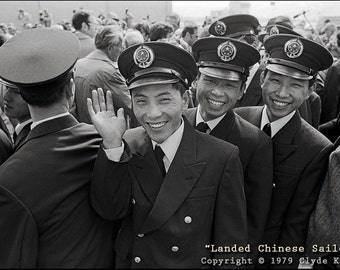 Historic Clyde Keller Photo, LANDED CHINESE SAILORS, Pier 86, Seattle, Fine Art Print, Black and White, Signed, 1979 image