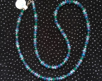 Green Onyx, Amethyst and Apatite Necklace  N131