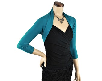 Eco-Friendly Bamboo Shrug Bolero - Dark Turquoise 3/4 Sleeve