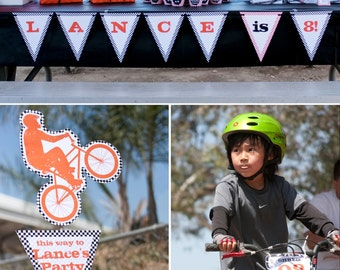 Bmx Dirt Bike Birthday PRINTABLE Party Collection - You Customize EDITABLE TEXT >> Instant Download << Paper and Cake