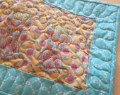 Modern Table Runner , Tula Pink , Quilted Table Runner , Yellow And Teal , Yellow And Blue Runner