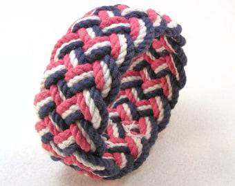 red white and blue cotton braided rope bracelet turks head knot armband sailor bracelet 2625
