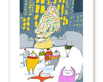 Rockefeller Center Christmas Print - Cat Art - NYC - Christmas Art - New Yorker