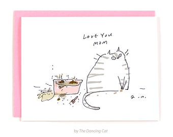 Funny Mother's Day Card - From the Cat - Cat Mom - Love You Mom - Funny Cat Card - Litter Box Cat