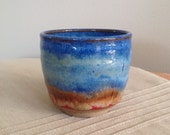 Yunomi, Tea Cup, Tea Bowl, Blue Red Brown Tea Cup, handmade ceramic tea cup, pottery cup, Tea Lovers, Gift for Hi
