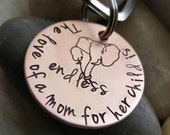 Mothers day keychain, Mom gift, Handstamped personalized keychain, mom to be gift, Custom copper keychain, A mothers love
