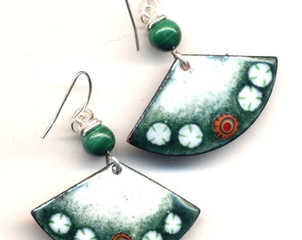 Malachite Earrings, Enamel Asian Fan Earrings, White and Green Earrings, Sterling Silver Earrings, Handmade by Annaart72