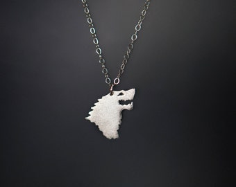 House Stark Necklace; Game of Thrones Jewelry; Silver Game of Thrones Necklace, Geek Jewelry; Sansa Stark; Geek Gift; Direwolf Necklace
