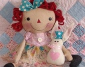 Primitive Raggedy Doll Pattern, Easter Bunny and Doll Pattern, cloth doll pattern, Easter Decor, HFTH205