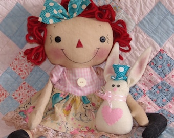 Primitive Raggedy Doll Easter Bunny Pattern, cloth doll pattern, Easter Decor, HFTH205