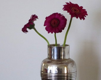 Silverplate art deco vase - formerly a cocktail shaker