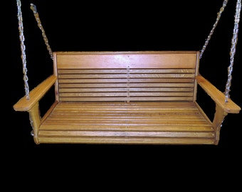 Wormy Oak Porch Swing with hanging kit