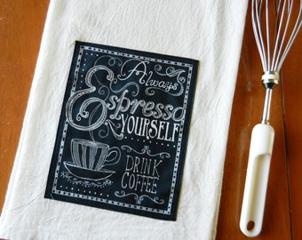Chalkboard Espresso Tea Towel, Flour Sack Dish Towel, Applique Kitchen Towel, Coffee Theme Kitchen, Chalkboard Tea Towel, Coffee Lover Gift
