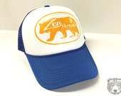 Cal BEAR logo Blue Trucker Hat - Zen Threads - Hand screen printed in California - FREE SHIPPING